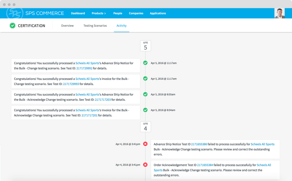 Screenshot of the industry-leading EDI compliance platform