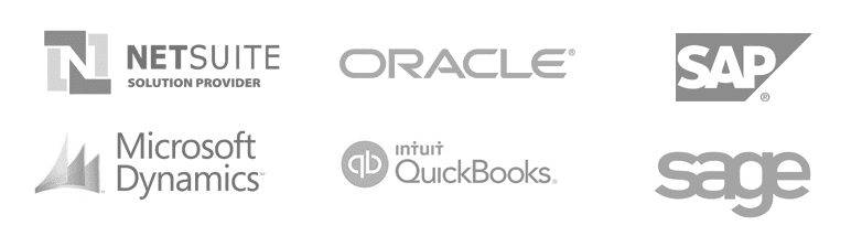 Examples of business systems integrations: Netsuite, Oracle, SAP, Quickbooks, Sage, Microsoft Dynamics