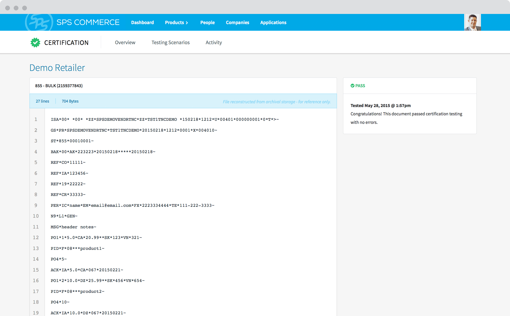 Screenshot of the industry-leading EDI testing platform
