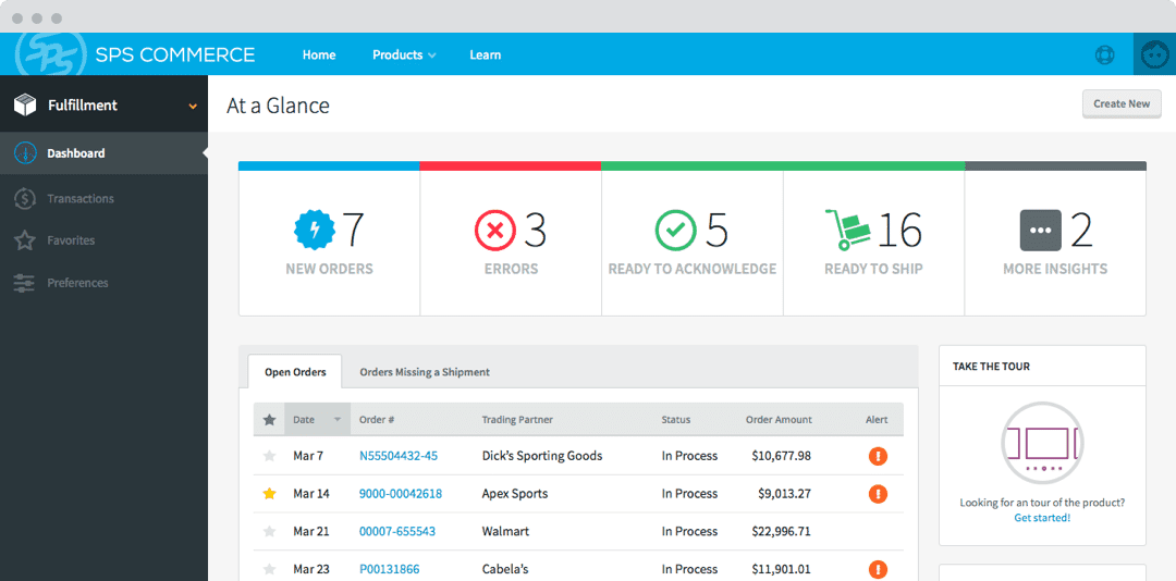 Screenshot of the new Fulfillment product dashboard