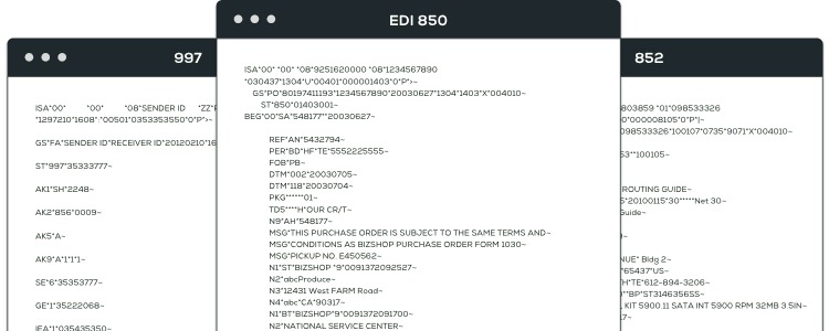 graphic showing raw EDI data for EDI 997, EDI 850, and EDI 852 transactions