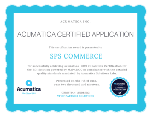 Acumatica Certified Application 2019 R1_SPS Commerce MAPADOC