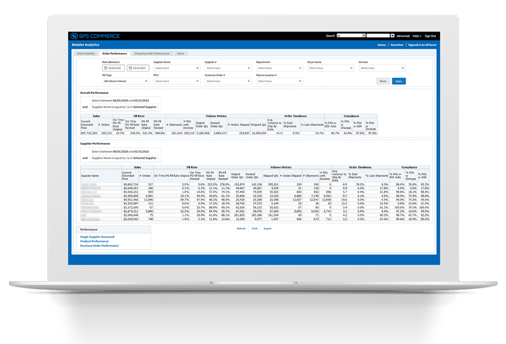 Retailer Analytics Order Visibility Screenshot